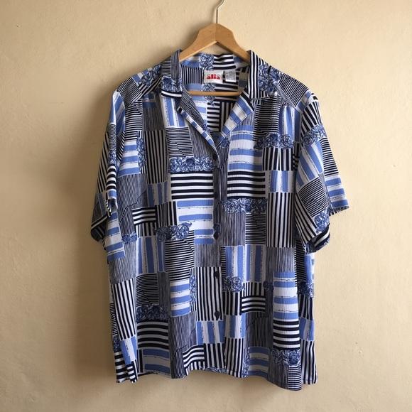 f0209ca9a3c Vintage Tops - Plus size Retro vintage button down shirt